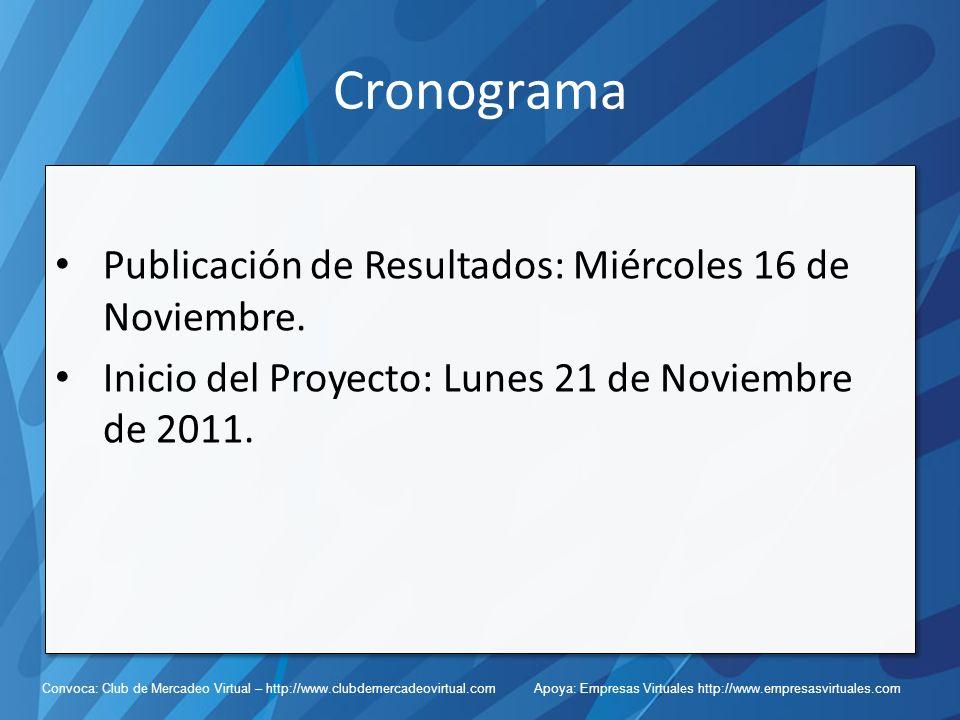 Convoca: Club de Mercadeo Virtual – http://www.clubdemercadeovirtual.com Apoya: Empresas Virtuales http://www.empresasvirtuales.com Cronograma Publicación de Resultados: Miércoles 16 de Noviembre.