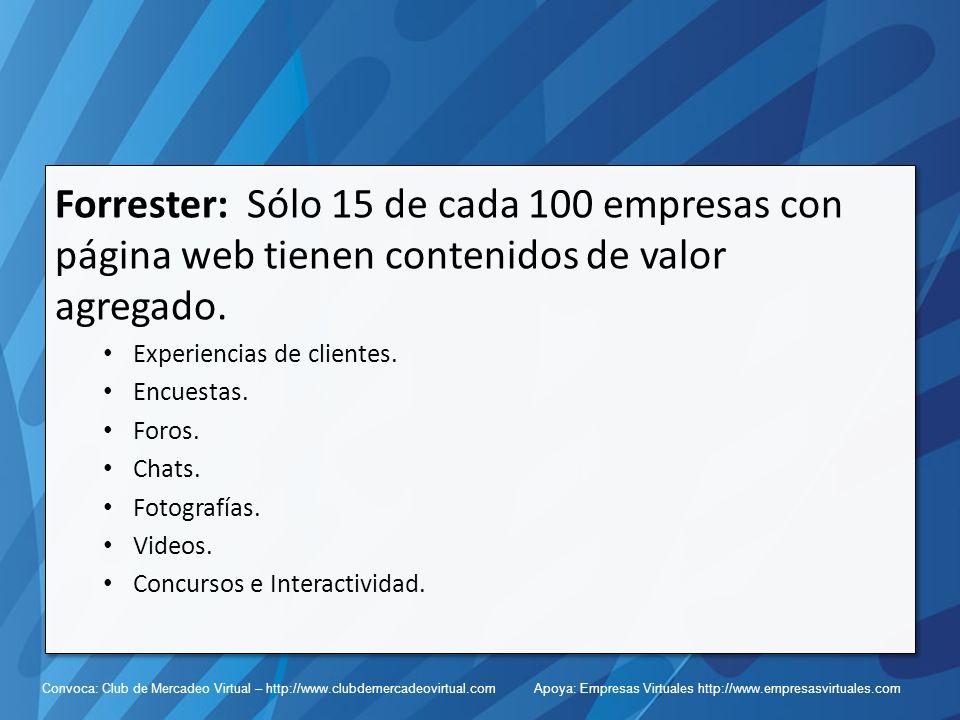 Convoca: Club de Mercadeo Virtual – http://www.clubdemercadeovirtual.com Apoya: Empresas Virtuales http://www.empresasvirtuales.com Forrester: Sólo 15 de cada 100 empresas con página web tienen contenidos de valor agregado.
