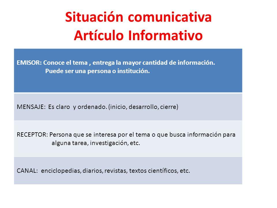 Situación comunicativa Artículo Informativo EMISOR: Conoce el tema, entrega la mayor cantidad de información. Puede ser una persona o institución. MEN