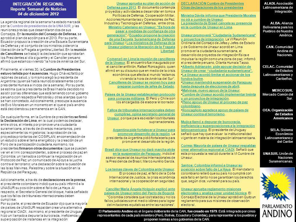 INTEGRACIÓN REGIONAL Reporte Semanal de Noticias 04 de diciembre 2012 ALADI. Asociación Latinoamericana de Integración. ALBA. Alianza Bolivariana para