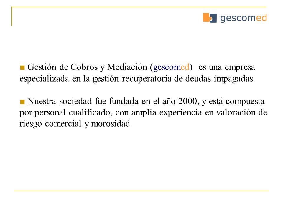 Gestión de Cobros y Mediación (gescomed) es una empresa especializada en la gestión recuperatoria de deudas impagadas. Nuestra sociedad fue fundada en