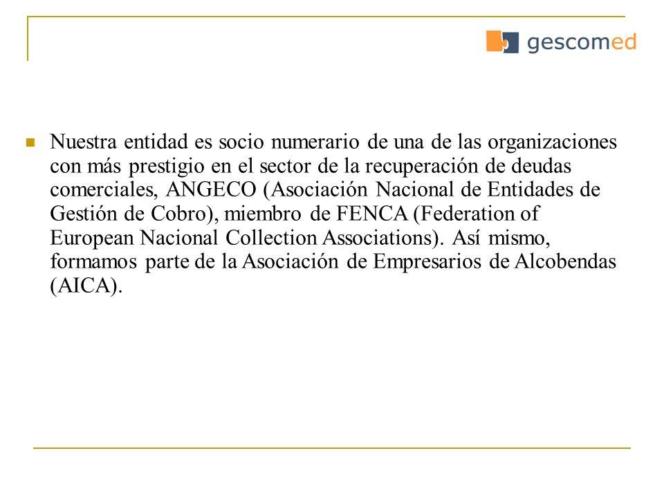 Nuestra entidad es socio numerario de una de las organizaciones con más prestigio en el sector de la recuperación de deudas comerciales, ANGECO (Asoci