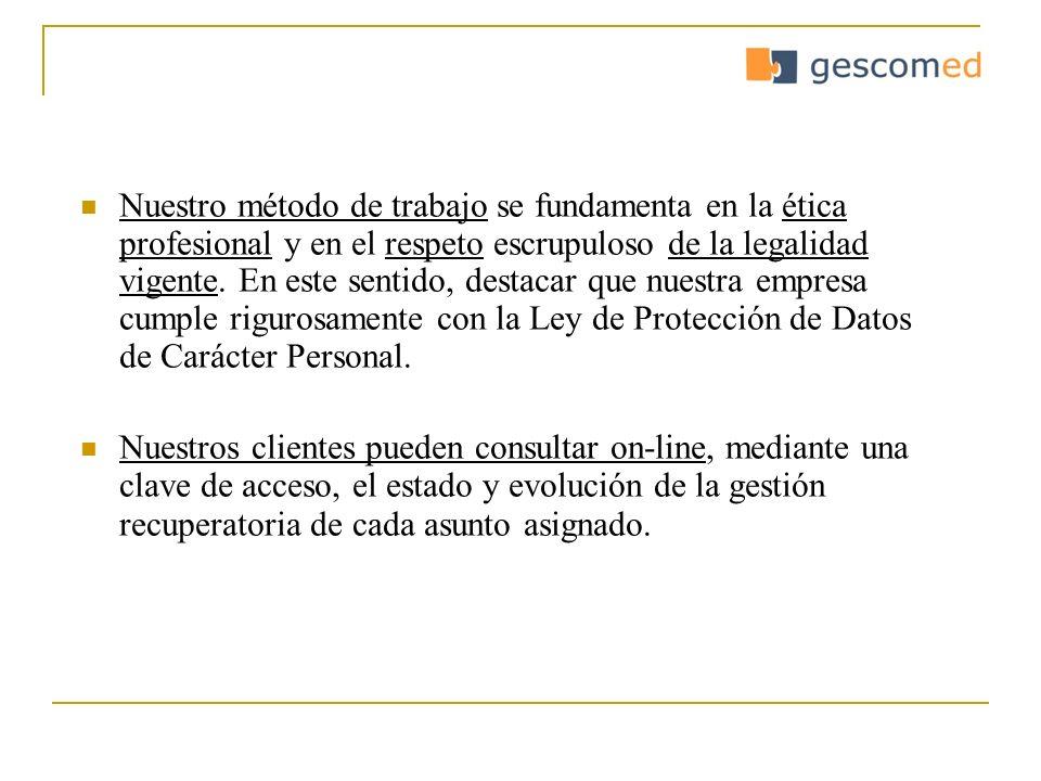 Ofrecemos: - Servicios de telegestión - Gestión amistosa (visita al domicilio y/o empresa) - Gestión precontenciosa - Gestión judicial:.