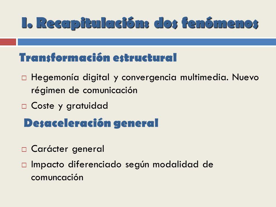 I.Recapitulación: dos fenómenos Hegemonía digital y convergencia multimedia.