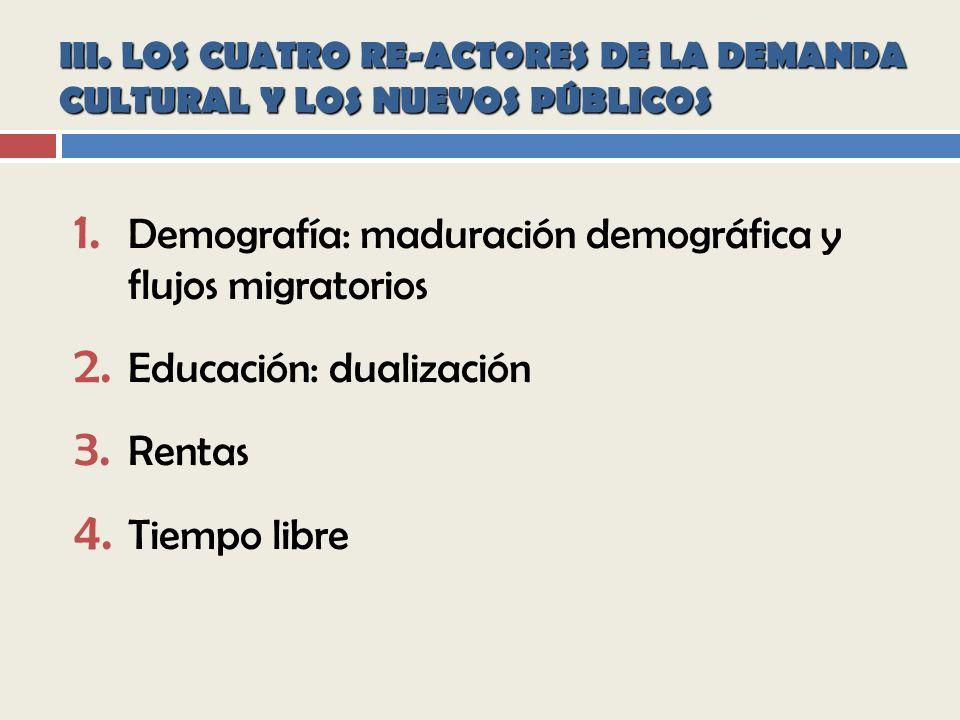 III.LOS CUATRO RE-ACTORES DE LA DEMANDA CULTURAL Y LOS NUEVOS PÚBLICOS 1.