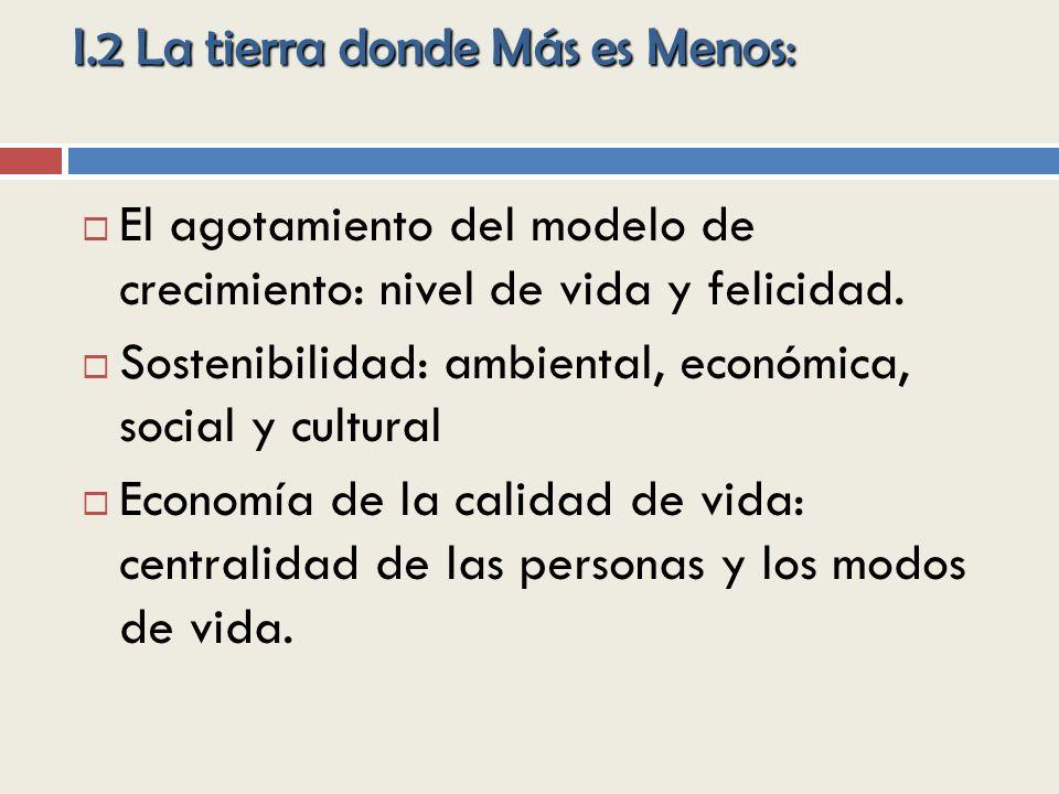 I.2 La tierra donde Más es Menos: El agotamiento del modelo de crecimiento: nivel de vida y felicidad.