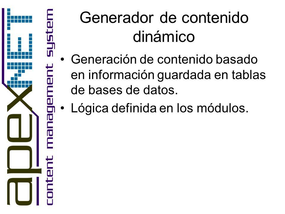 Generador de contenido dinámico Generación de contenido basado en información guardada en tablas de bases de datos. Lógica definida en los módulos.