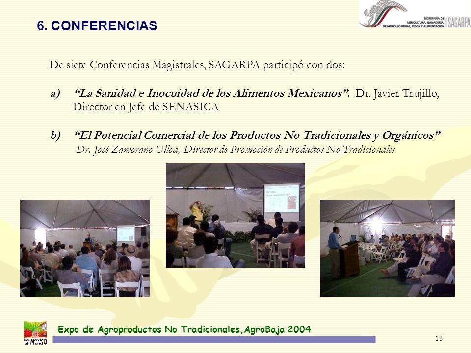 Expo de Agroproductos No Tradicionales,AgroBaja 2004 13 6. CONFERENCIAS De siete Conferencias Magistrales, SAGARPA participó con dos: a)La Sanidad e I