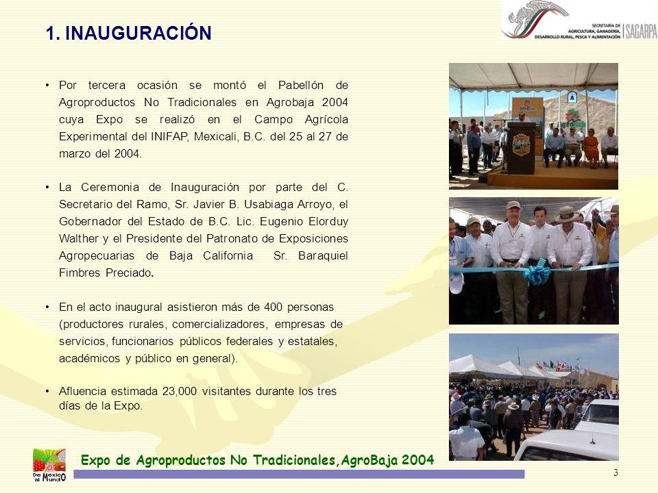 Expo de Agroproductos No Tradicionales,AgroBaja 2004 3 Por tercera ocasión se montó el Pabellón de Agroproductos No Tradicionales en Agrobaja 2004 cuya Expo se realizó en el Campo Agrícola Experimental del INIFAP, Mexicali, B.C.