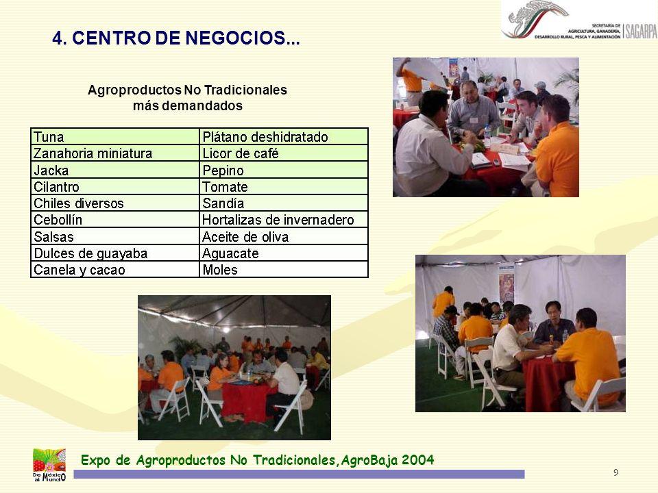Expo de Agroproductos No Tradicionales,AgroBaja 2004 9 4. CENTRO DE NEGOCIOS... Agroproductos No Tradicionales más demandados