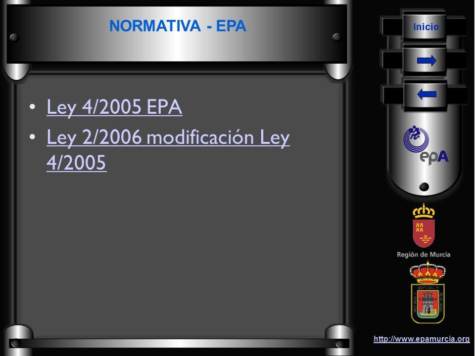 Inicio http://www.epamurcia.org Ley 6/2006 sobre incremento de las medidas de ahorro y conservación en el consumo de agua en la Comunidad Autónoma de la Región de MurciaLey 6/2006 sobre incremento de las medidas de ahorro y conservación en el consumo de agua en la Comunidad Autónoma de la Región de Murcia Orden 22 de enero de 2007, sobre el sistema de vigilancia e información de la gestión industrial del agua (VIGIA).Orden 22 de enero de 2007, sobre el sistema de vigilancia e información de la gestión industrial del agua (VIGIA).