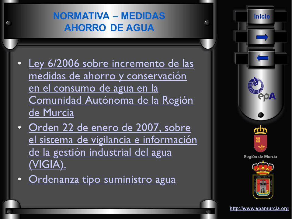 Inicio http://www.epamurcia.org Ley 6/2006 sobre incremento de las medidas de ahorro y conservación en el consumo de agua en la Comunidad Autónoma de