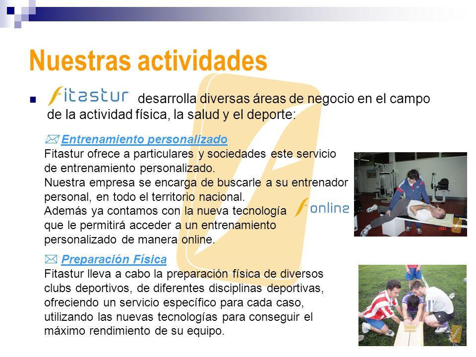 Nuestras actividades desarrolla diversas áreas de negocio en el campo de la actividad física, la salud y el deporte: Entrenamiento personalizado Fitas