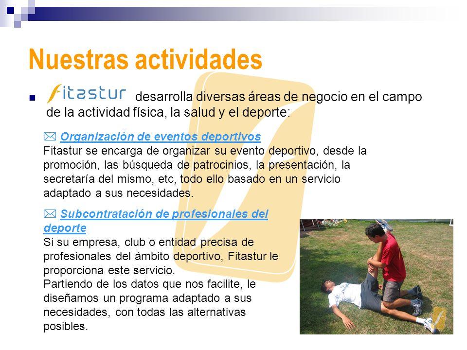 Nuestras actividades desarrolla diversas áreas de negocio en el campo de la actividad física, la salud y el deporte: Organización de eventos deportivo