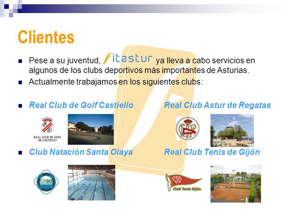 Clientes Pese a su juventud, ya lleva a cabo servicios en algunos de los clubs deportivos más importantes de Asturias. Actualmente trabajamos en los s