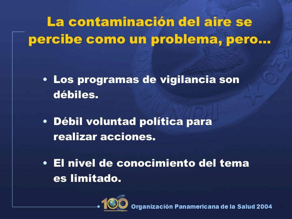 12 Organización Panamericana de la Salud 2004 La contaminación del aire se percibe como un problema, pero... Los programas de vigilancia son débiles.