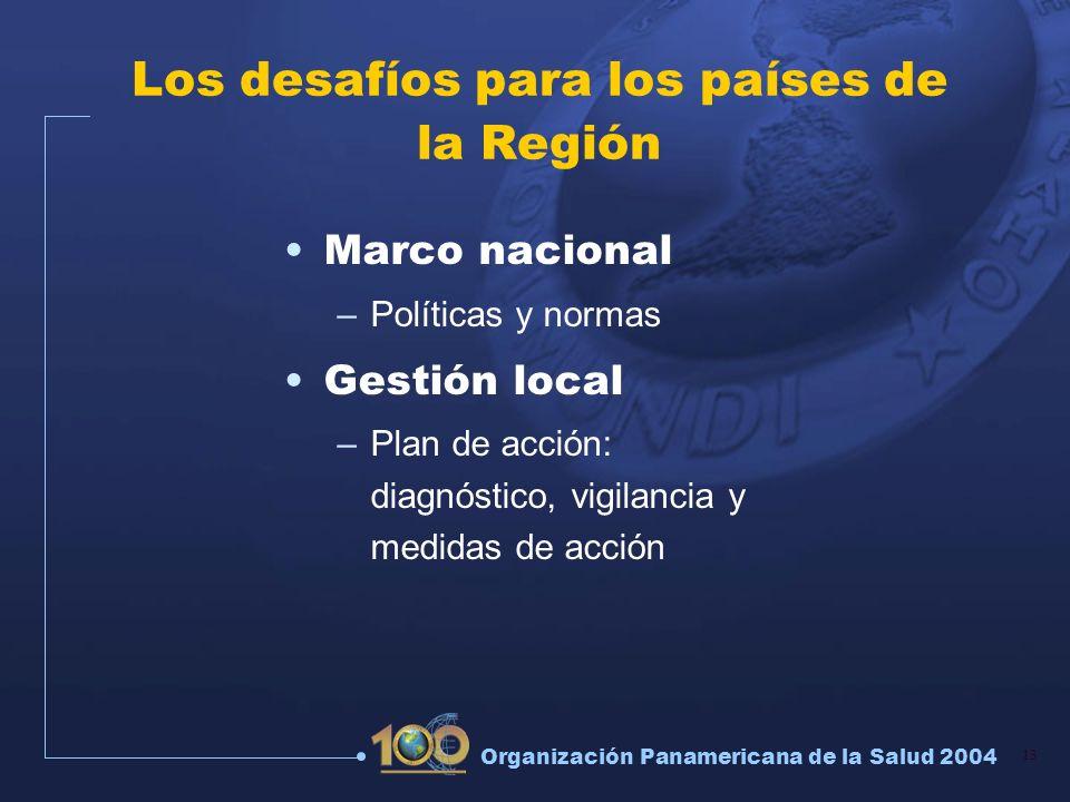 13 Organización Panamericana de la Salud 2004 Los desafíos para los países de la Región Marco nacional –Políticas y normas Gestión local –Plan de acci