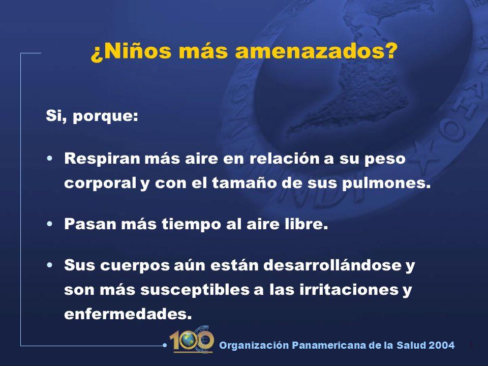3 Organización Panamericana de la Salud 2004 ¿Niños más amenazados? Si, porque: Respiran más aire en relación a su peso corporal y con el tamaño de su