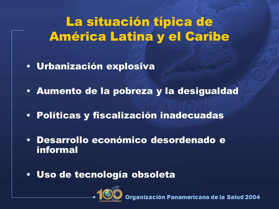 7 Organización Panamericana de la Salud 2004 La situación típica de América Latina y el Caribe Urbanización explosiva Aumento de la pobreza y la desig