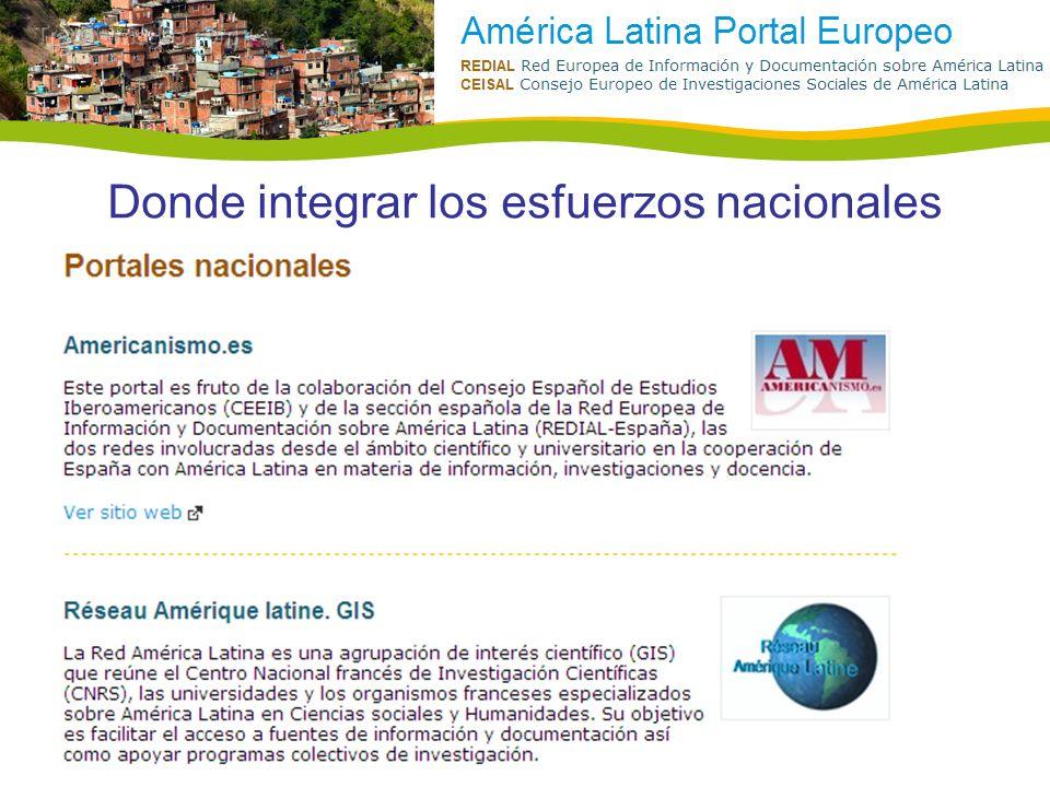 Donde integrar los esfuerzos nacionales