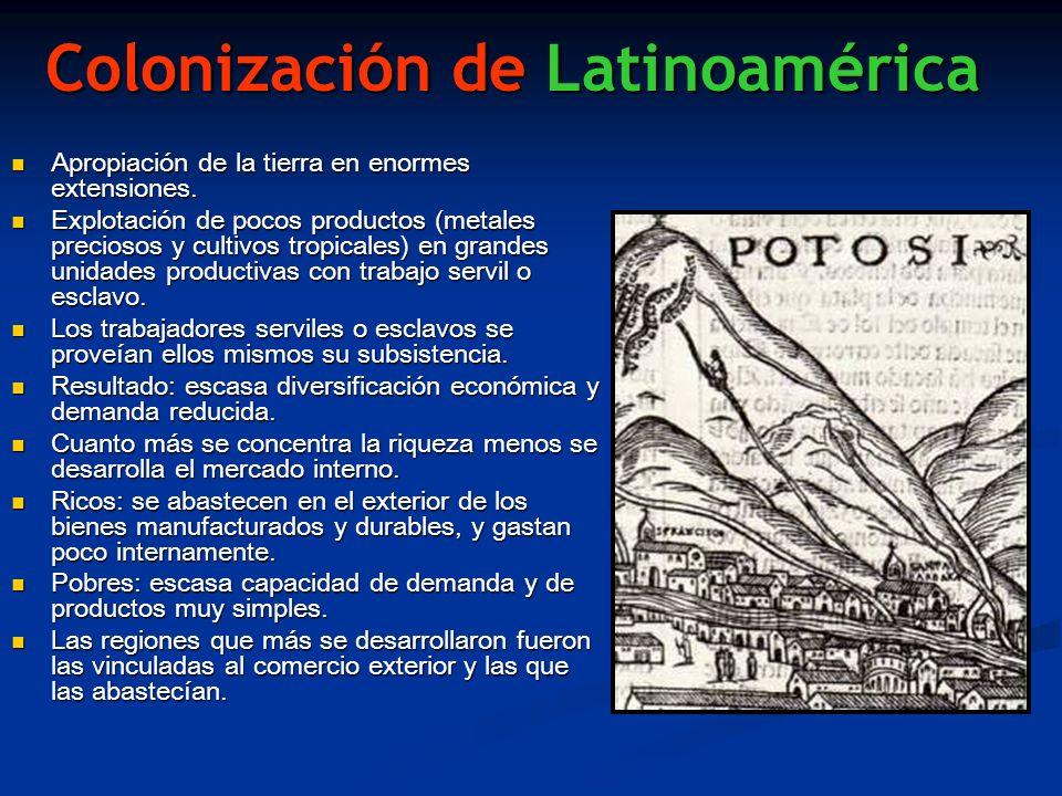 Colonización de Latinoamérica Apropiación de la tierra en enormes extensiones. Apropiación de la tierra en enormes extensiones. Explotación de pocos p