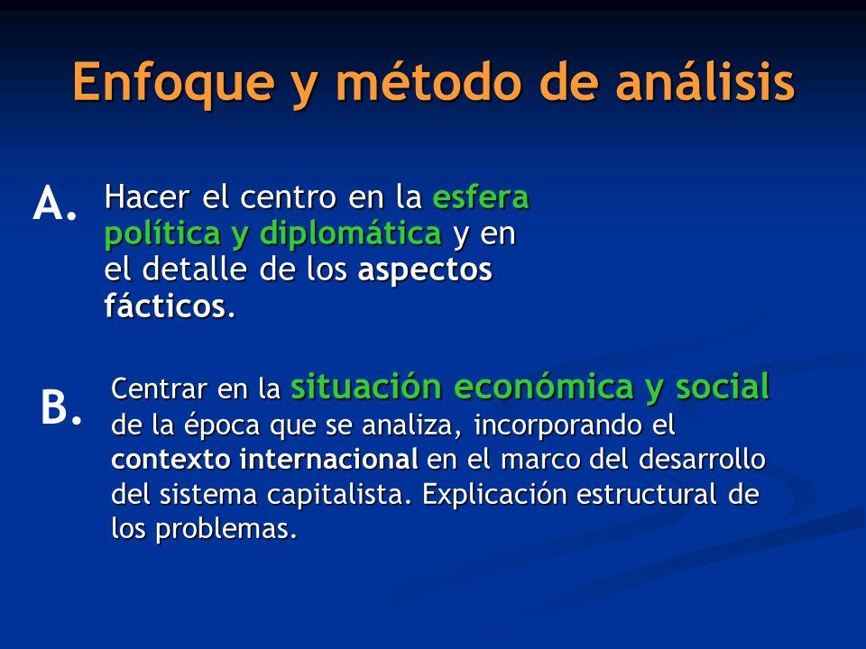 Enfoque y método de análisis Hacer el centro en la esfera política y diplomática y en el detalle de los aspectos fácticos. A. Centrar en la situación