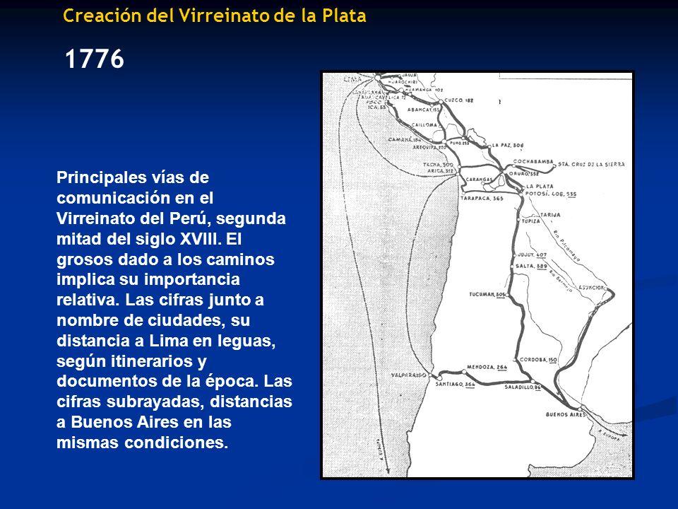Creación del Virreinato de la Plata 1776 Principales vías de comunicación en el Virreinato del Perú, segunda mitad del siglo XVIII. El grosos dado a l