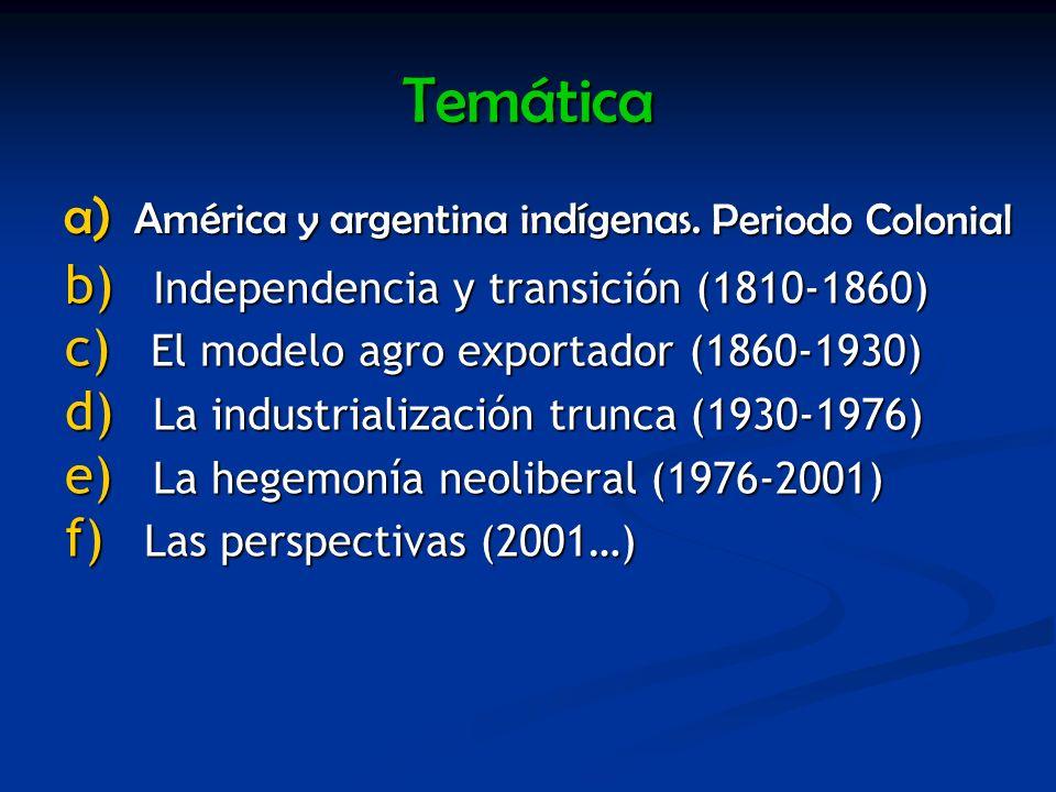 Temática a) América y argentina indígenas. Periodo Colonial b) I ndependencia y transición (1810-1860) c) E l modelo agro exportador (1860-1930) d) L