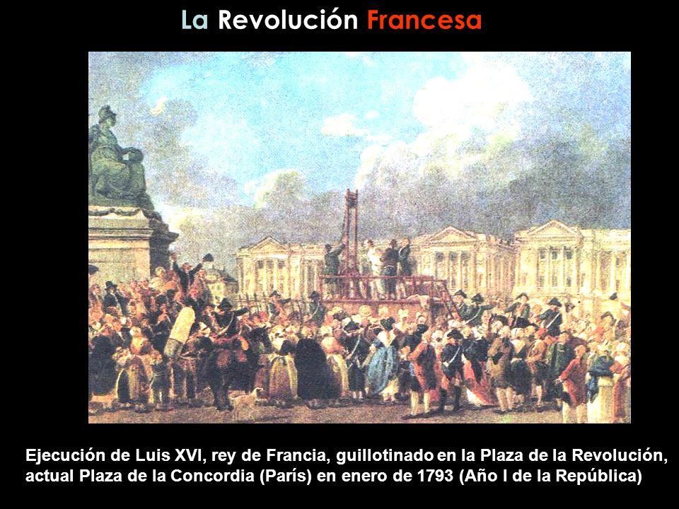 Ejecución de Luis XVI, rey de Francia, guillotinado en la Plaza de la Revolución, actual Plaza de la Concordia (París) en enero de 1793 (Año I de la R