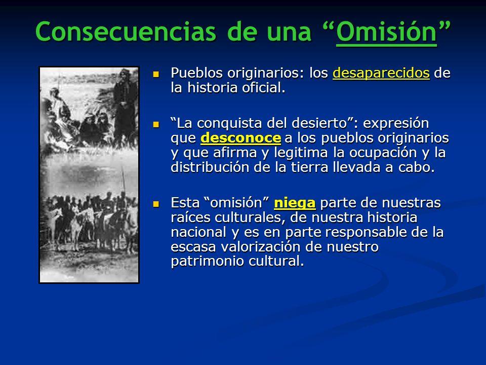 Consecuencias de una Omisión Pueblos originarios: los desaparecidos de la historia oficial. Pueblos originarios: los desaparecidos de la historia ofic