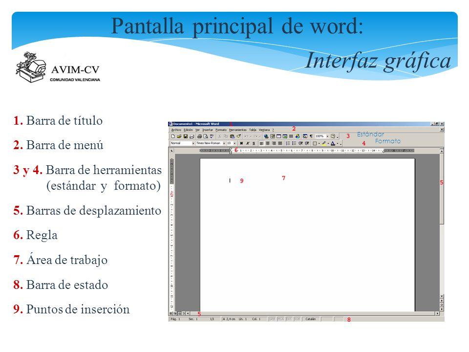 Pantalla principal de word: Interfaz gráfica 1. Barra de título 2. Barra de menú 3 y 4. Barra de herramientas (estándar y formato) 5. Barras de despla
