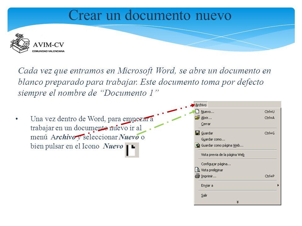 Crear un documento nuevo Cada vez que entramos en Microsoft Word, se abre un documento en blanco preparado para trabajar. Este documento toma por defe