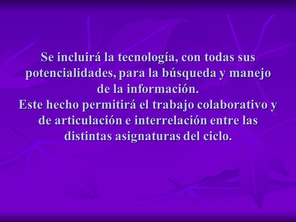 Se incluirá la tecnología, con todas sus potencialidades, para la búsqueda y manejo de la información.