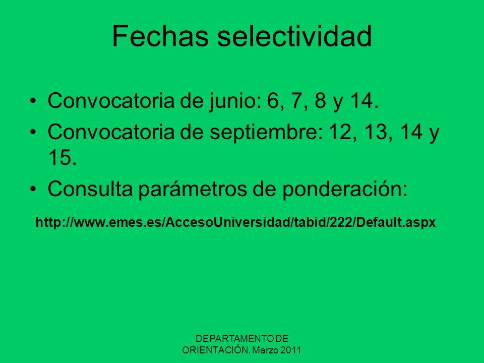 DEPARTAMENTO DE ORIENTACIÓN. Marzo 2011 Fechas selectividad Convocatoria de junio: 6, 7, 8 y 14. Convocatoria de septiembre: 12, 13, 14 y 15. Consulta