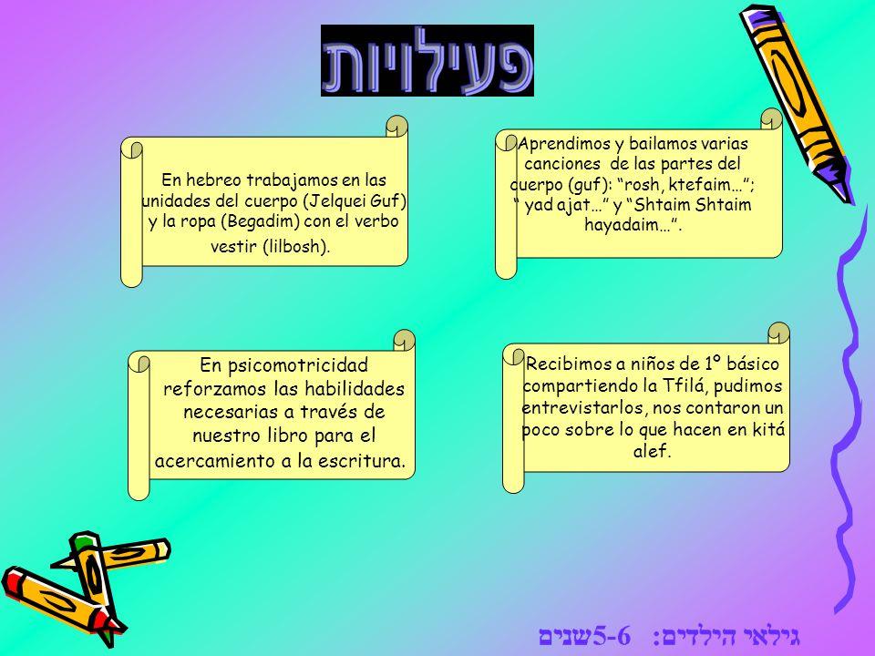 En hebreo trabajamos en las unidades del cuerpo (Jelquei Guf) y la ropa (Begadim) con el verbo vestir (lilbosh). Aprendimos y bailamos varias cancione