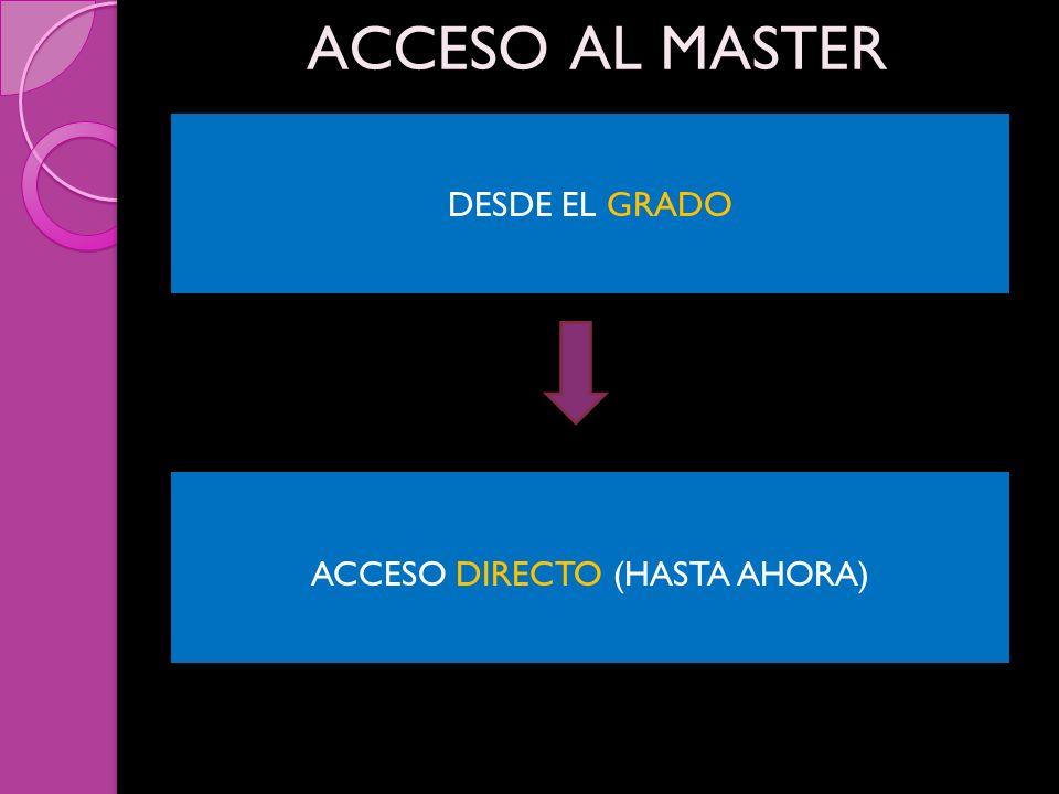 ACCESO AL MASTER DESDE EL GRADO ACCESO DIRECTO (HASTA AHORA)