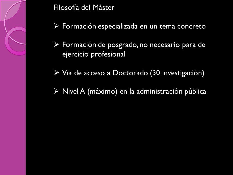 Filosofía del Máster Formación especializada en un tema concreto Formación de posgrado, no necesario para de ejercicio profesional Vía de acceso a Doctorado (30 investigación) Nivel A (máximo) en la administración pública