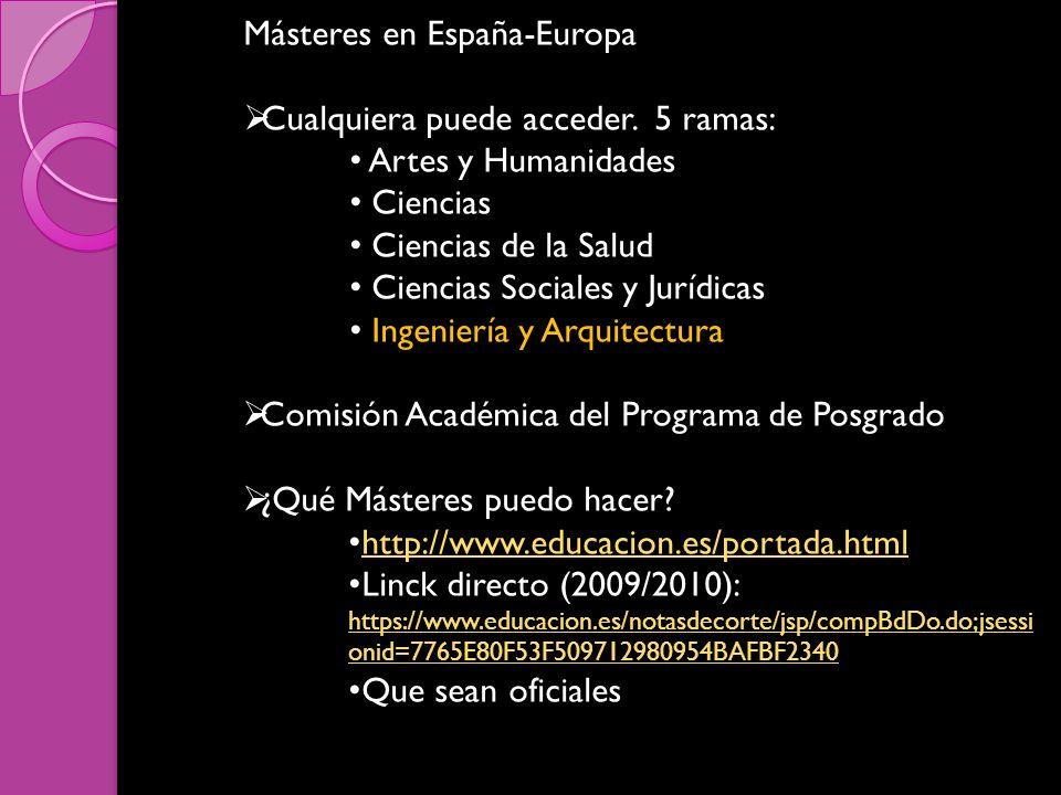 Másteres en España-Europa Cualquiera puede acceder. 5 ramas: Artes y Humanidades Ciencias Ciencias de la Salud Ciencias Sociales y Jurídicas Ingenierí