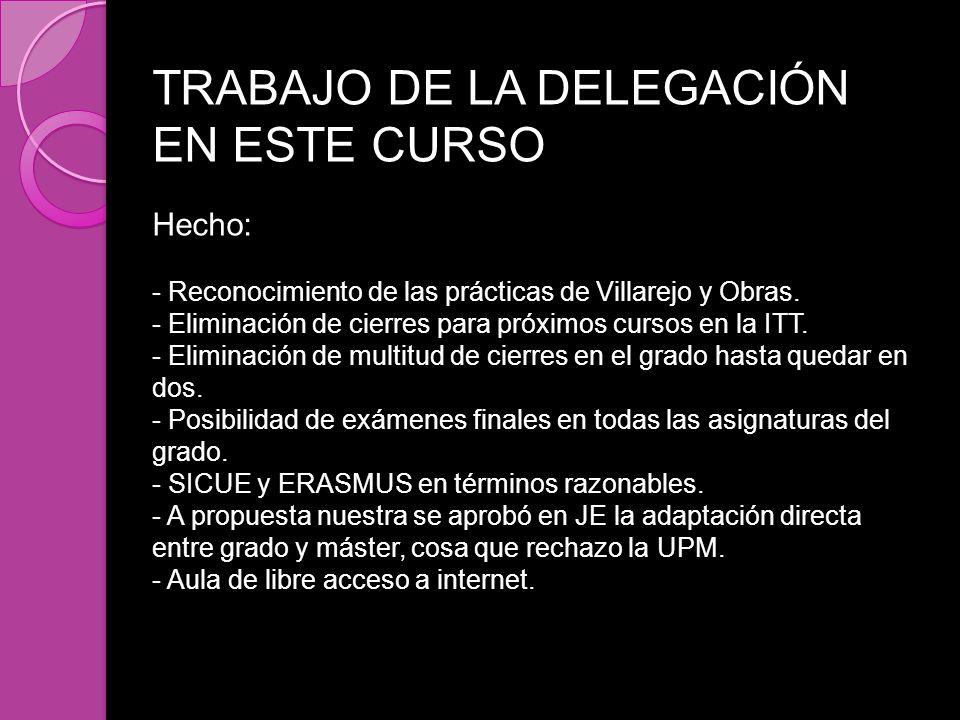 TRABAJO DE LA DELEGACIÓN EN ESTE CURSO Hecho: - Reconocimiento de las prácticas de Villarejo y Obras. - Eliminación de cierres para próximos cursos en