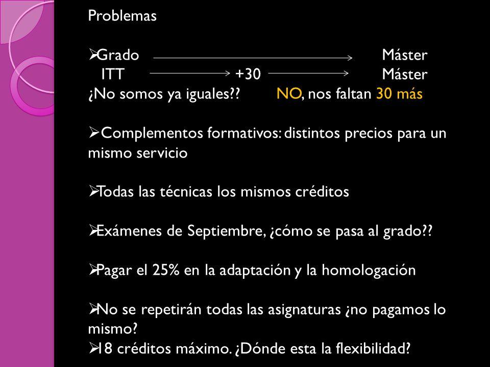 Problemas GradoMáster ITT+30Máster ¿No somos ya iguales .