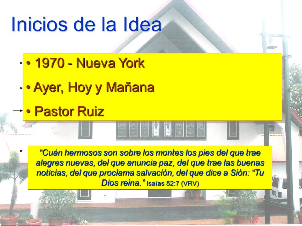 Inicios de la Idea 1970 - Nueva York 1970 - Nueva York Ayer, Hoy y Mañana Ayer, Hoy y Mañana Pastor Ruiz Pastor Ruiz 1970 - Nueva York 1970 - Nueva Yo