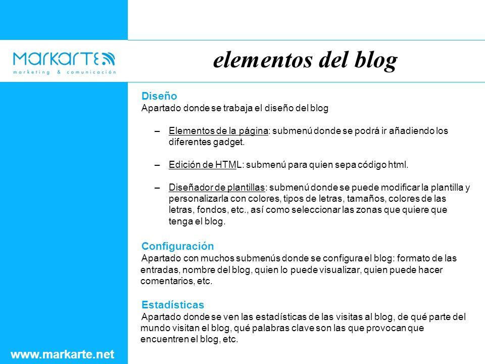 Diseño Apartado donde se trabaja el diseño del blog –Elementos de la página: submenú donde se podrá ir añadiendo los diferentes gadget.