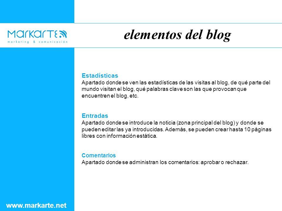 elementos del blog www.markarte.net Estadísticas Apartado donde se ven las estadísticas de las visitas al blog, de qué parte del mundo visitan el blog, qué palabras clave son las que provocan que encuentren el blog, etc.
