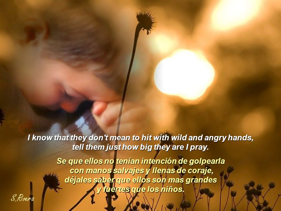 Please don t let them hurt your children, Por favor no permitas que maltraten a sus niños, we need love and shelter from the storm.