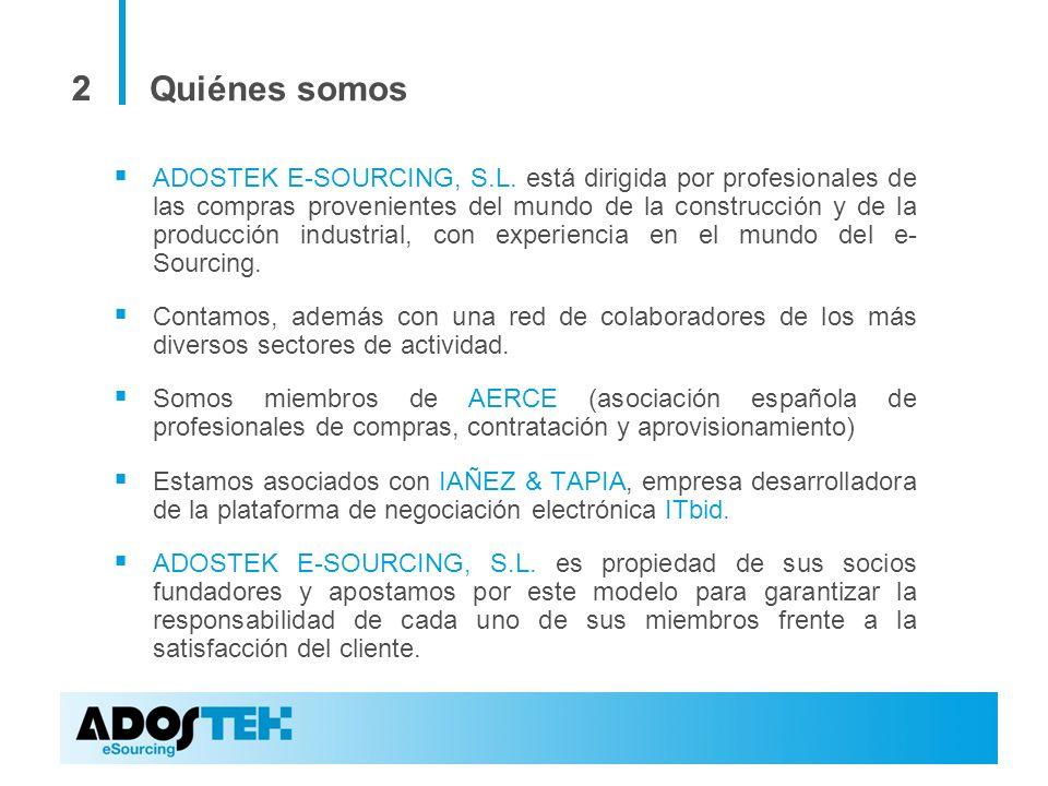22 Quiénes somos ADOSTEK E-SOURCING, S.L. está dirigida por profesionales de las compras provenientes del mundo de la construcción y de la producción