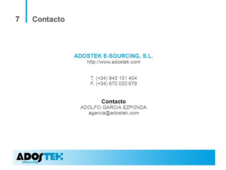 77 ADOSTEK E-SOURCING, S.L. http://www.adostek.com T. (+34) 943 101 404 F. (+34) 672 020 679 Contacto ADOLFO GARCIA EZPONDA agarcia@adostek.com Contac