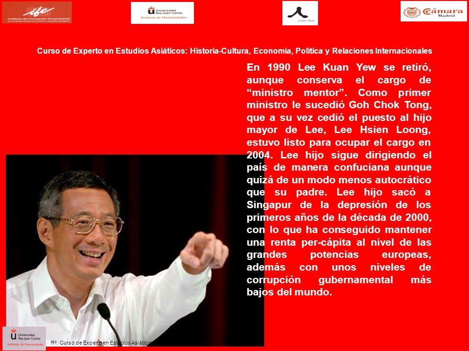 En 1990 Lee Kuan Yew se retiró, aunque conserva el cargo de ministro mentor. Como primer ministro le sucedió Goh Chok Tong, que a su vez cedió el pues