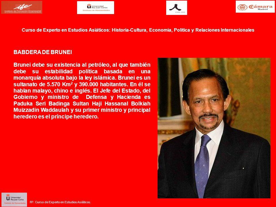 BABDERA DE BRUNEI Brunei debe su existencia al petróleo, al que también debe su estabilidad política basada en una monarquía absoluta bajo la ley islámica.
