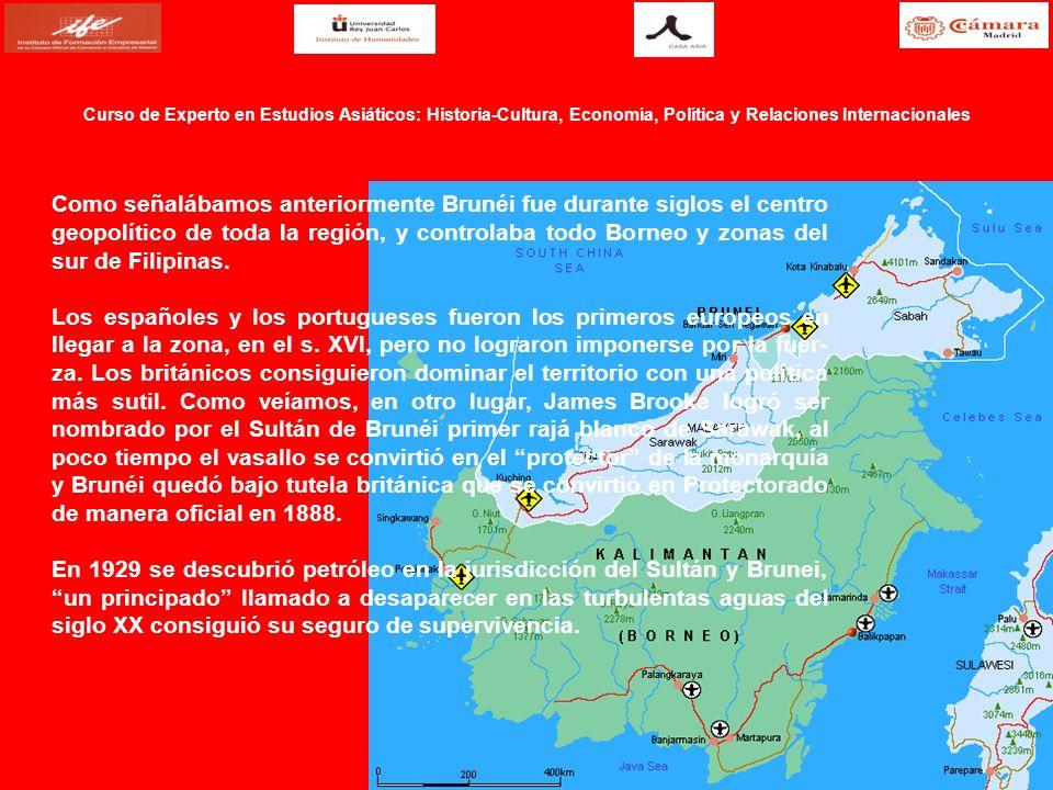 Como señalábamos anteriormente Brunéi fue durante siglos el centro geopolítico de toda la región, y controlaba todo Borneo y zonas del sur de Filipina