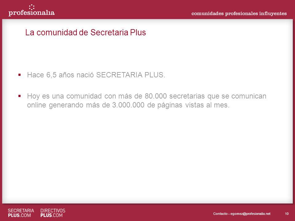 10Contacto – egomez@profesionalia.net Hace 6,5 años nació SECRETARIA PLUS. Hoy es una comunidad con más de 80.000 secretarias que se comunican online
